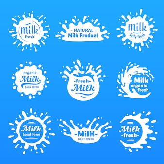 Creme de iogurte natural ou leite borrões silhueta vector conjunto de forma de desenho animado