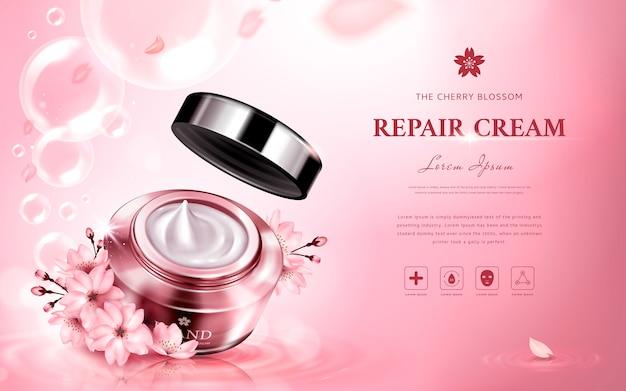 Creme de reparo de flor de cerejeira contendo um frasco, com flores românticas e bolhas, fundo rosa