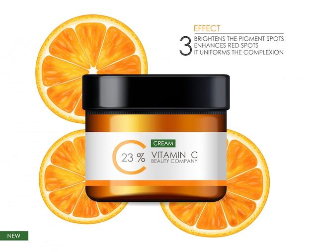 Creme de vitamina c, empresa de beleza, frasco para cuidados com a pele, pacote realista e citros frescos, essência do tratamento, cosméticos de beleza