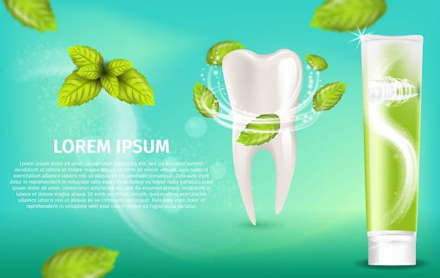 Creme dental de hortelã natural de ilustração realista