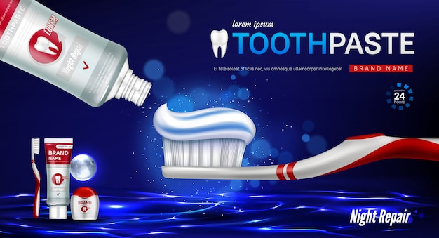 Creme dental, escova, fio dental e dente banner