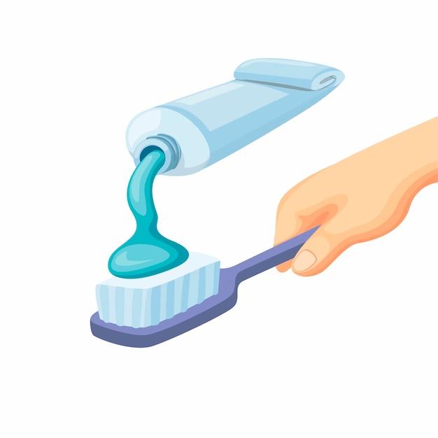 Creme dental na escova de dentes na mão. dentes de limpeza, atendimento odontológico na ilustração dos desenhos animados, isolado no fundo branco