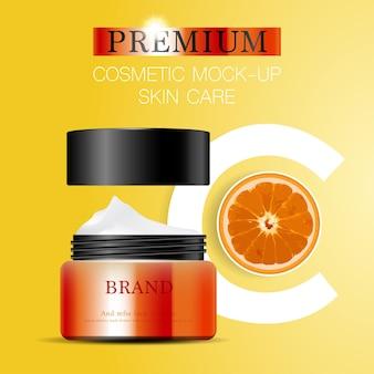 Creme facial hidratante para venda anual ou venda em festival. frasco de máscara de creme de prata e laranja