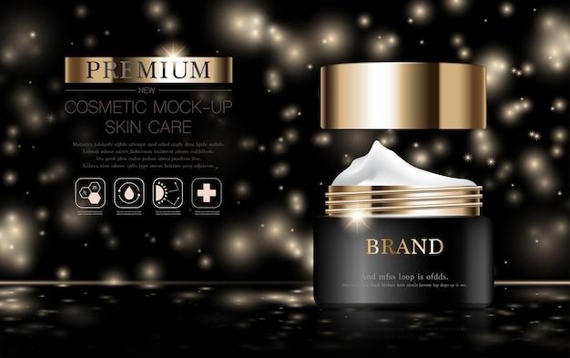 Creme facial hidratante para venda anual ou venda em festival frasco de máscara de creme preto e dourado isolado
