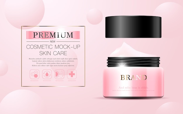 Creme facial hidratante para venda anual ou venda em festival. frasco de máscara de creme rosa e prata isolado