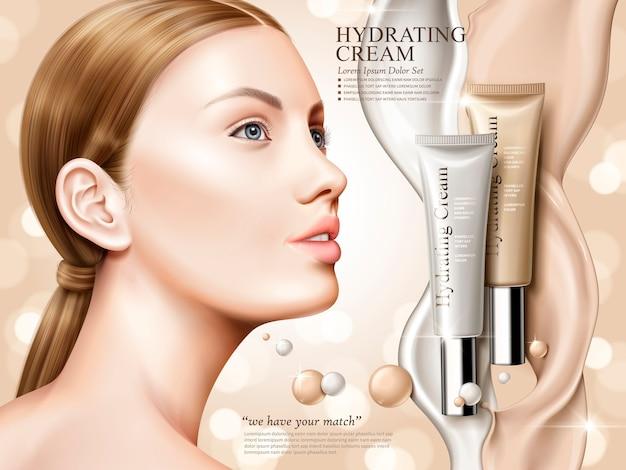 Creme hidratante contido em bisnagas cosméticas com modelo e efeito flow, fundo bokeh, ilustração