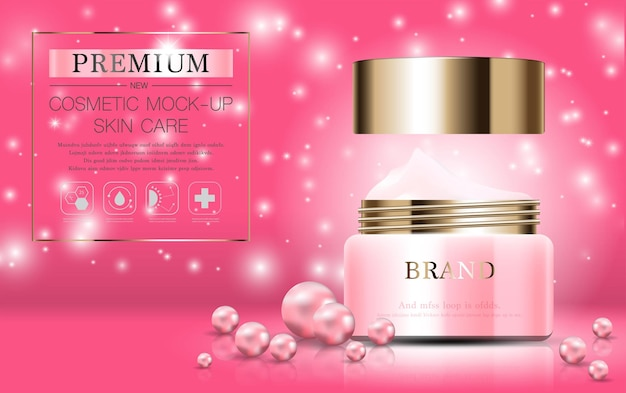 Creme hidratante de pérola facial para venda anual ou venda em festival frasco de máscara de creme rosa e dourado