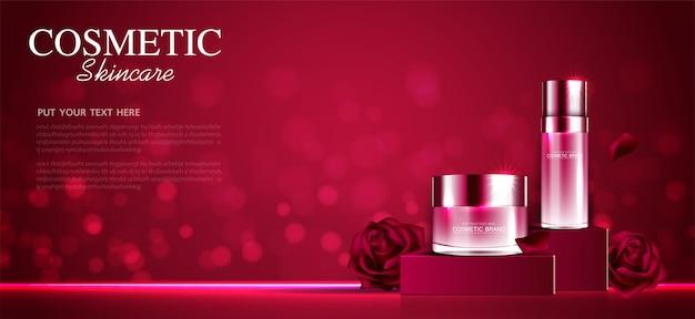 Creme hidratante facial de rosa para venda anual ou venda em festival. frasco de máscara de creme vermelho isolado