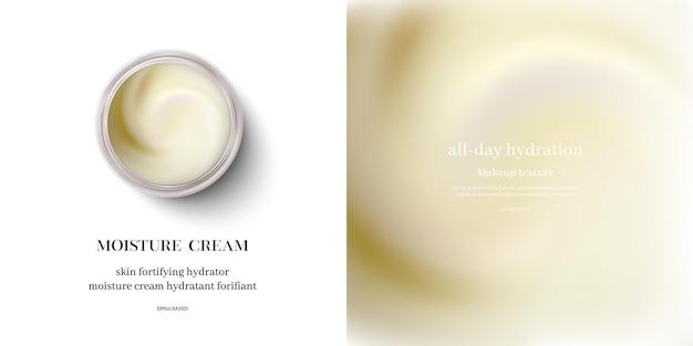 Creme hidratante ou creme cosmético de redemoinho, vista superior.
