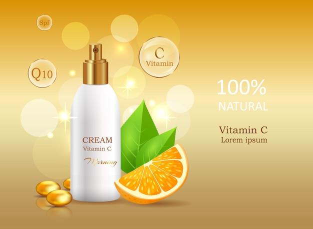 Creme natural de vitamina c com fator de proteção solar