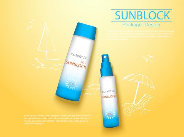 Creme protetor solar de vista superior e pacote cosmético realista em spray