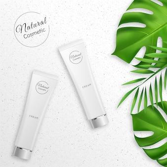 Creme realista com produtos cosméticos naturais
