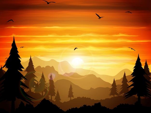 Crepúsculo absolutamente silencioso da floresta.