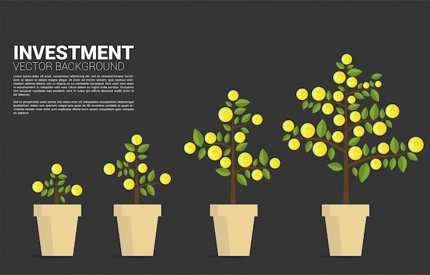 Cresça a árvore do dinheiro com moedas de dólar. conceito de investimento financeiro e economia de dinheiro