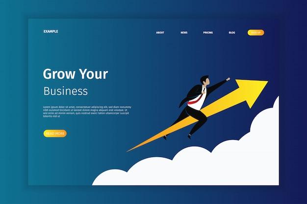 Cresça sua ilustração da página da aterrissagem do negócio