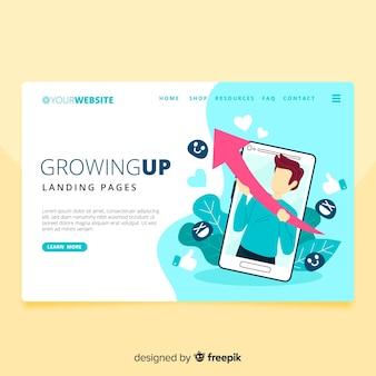 Crescendo a página de destino
