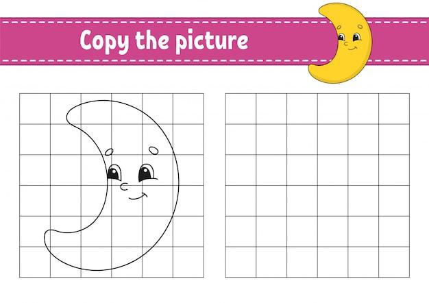 Crescente bonito. copie a imagem. páginas do livro de colorir para crianças.