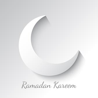 Crescente branco. design de cartão de felicitações para o feriado muçulmano. ramadan kareem significa generoso mês do ramadã.