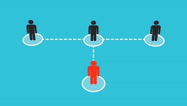 Crescente conectando pessoas esquema de rede social.