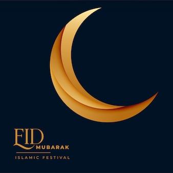 Crescente, dourado, 3d, lua, para, eid, mubarak