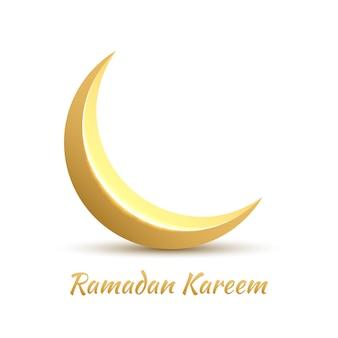 Crescente dourado. design de cartão de felicitações para o feriado muçulmano. ramadan kareem significa generoso mês do ramadã.