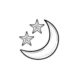 Crescente ou lua nova com ícone de doodle de contorno desenhado de mão de estrelas. noite e hora para dormir, conceito de astronomia