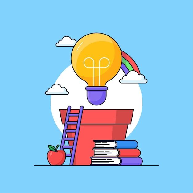 Crescente trabalho criativo inspiração ideia design de conceito visual com lâmpada no pote e livros