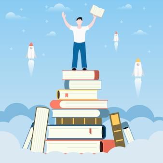 Crescer como pessoa lendo livros.