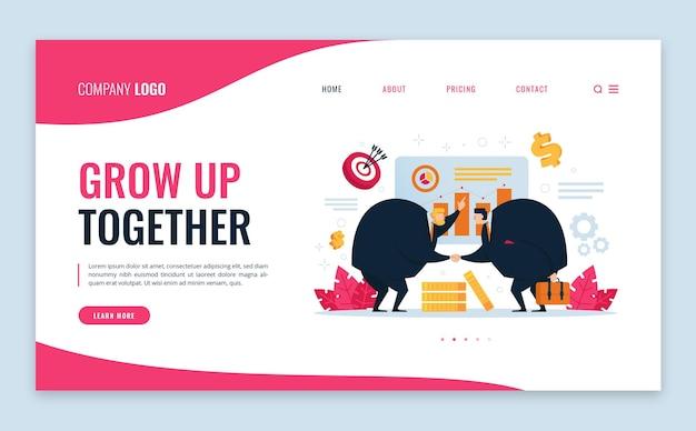 Crescer juntos na página de destino plana do marketing da empresa