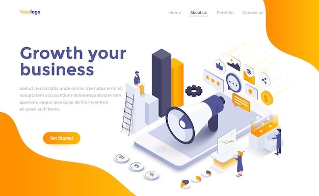 Crescimento da página de destino isométrica do seu negócio