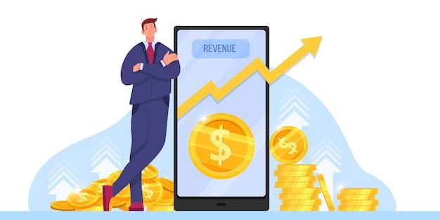 Crescimento da receita, retorno sobre o investimento ou aumento da receita com milionário, smartphone.