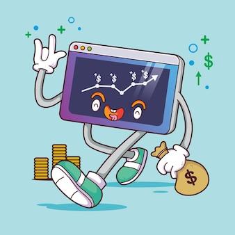 Crescimento da renda do caráter comercial