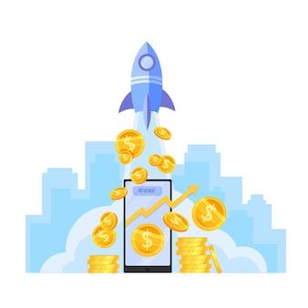 Crescimento da renda ou aumento da receita de dinheiro com lançamento de foguete, pilha de moedas de dólar, smartphone.