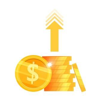 Crescimento da renda, retorno do investimento ou ilustração do dinheiro do aumento da receita com pilha de moedas de dólar, seta.