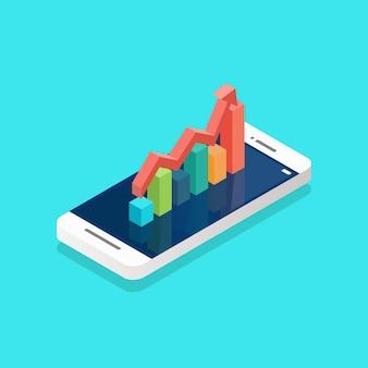 Crescimento da seta vermelha com gráfico de barras na tela do smartphone isométrica. ilustração vetorial