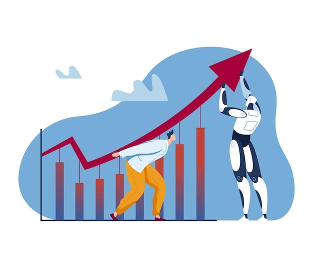 Crescimento de ai, ilustração de conceito de sucesso de robô de negócios. caráter do homem empresário perto de tecnologia de progresso, gráfico de finanças. inovação de automação no plano de trabalho, seta para cima.