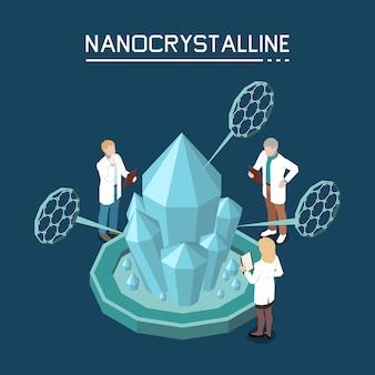 Crescimento de cristal não clássico usando nanocristalino com base na composição isométrica de nanopartículas com equipe de laboratório