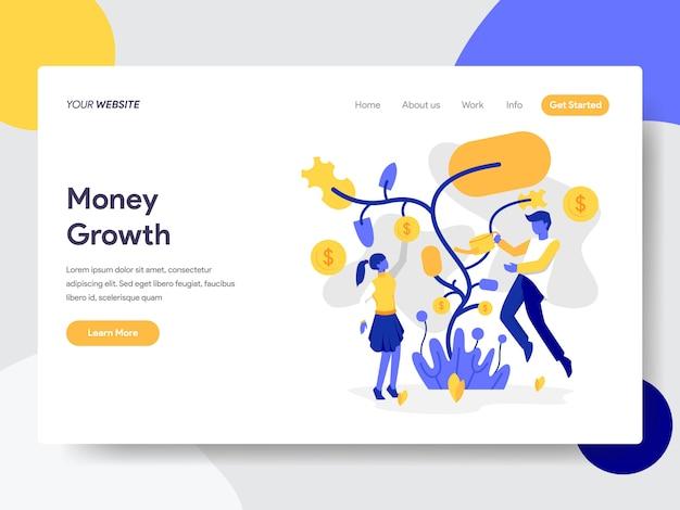 Crescimento de dinheiro de árvore para página da web