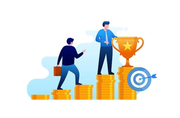 Crescimento de dinheiro, investimento e economia conceito banner de ilustração vetorial plana para página de destino