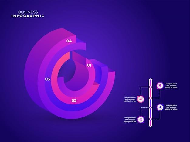Crescimento de negócios ou sucesso infográfico 3d elemento modelo desig