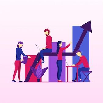Crescimento de vendas de negócios de pessoas trabalhando