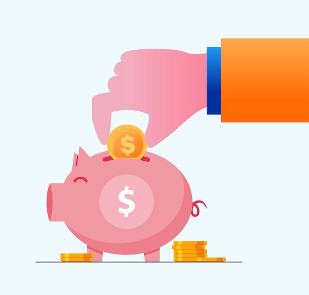 Crescimento dinheiro investimento cofrinho investir conceito plana vetor ilustração banner