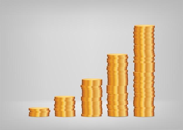 Crescimento do lucro, gráfico de pilhas de moedas