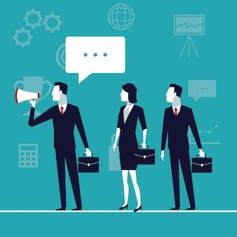 Crescimento do negócio com equipe executiva com megafone