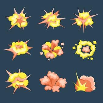 Crescimento dos desenhos animados. conjunto de explosões de bombas de fogo no estilo cômico. ilustração, isolada no fundo preto.