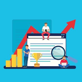 Crescimento e classificação de seo, sucesso nos negócios
