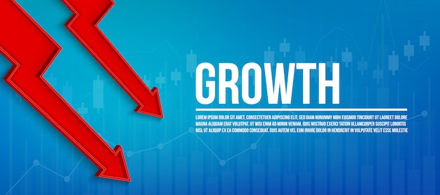 Crescimento financeiro da seta 3d, gráfico cresce o fundo