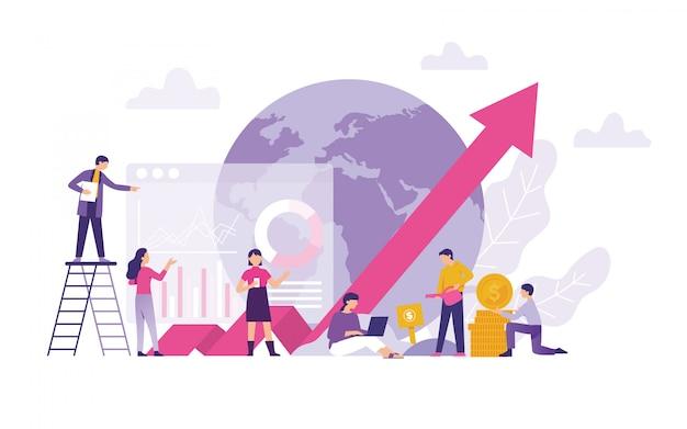 Crescimento global de comércio e investimento, finanças, economia e valor comercial