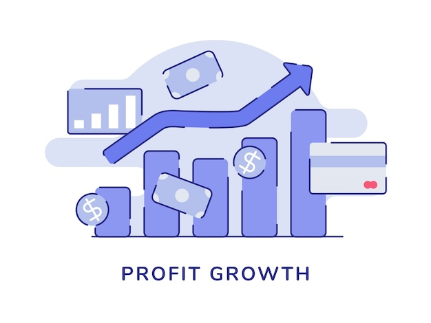 Crescimento lucro conceito gráfico de barras seta tendência positiva branco fundo isolado