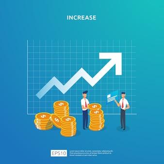Crescimento para cima conceito de ilustração de seta para aumento de taxa de salário de renda com caráter de pessoas.